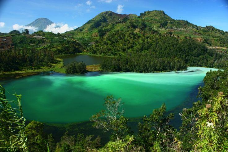 warna dari air telaga warna yang sangat indah