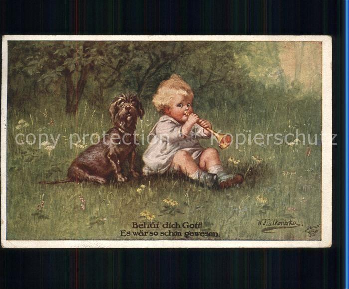 Fialkowska Behuet dich Gott Kind Hund Kat. Kuenstlerkarte 0