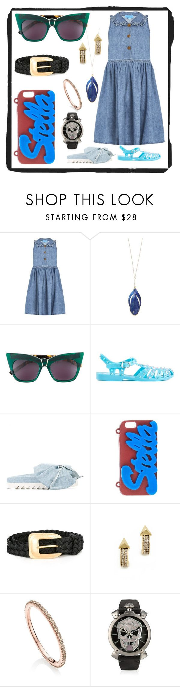"""Jeans Sun Dress..."" by ramakumari ❤ liked on Polyvore featuring M.i.h Jeans, Aurélie Bidermann, Pared, Markus Lupfer, Joshua's, STELLA McCARTNEY, Yves Saint Laurent, House of Harlow 1960 and Monica Vinader"
