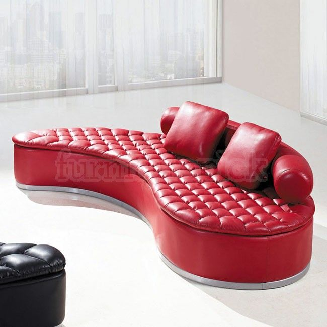 Global Furniture USA Sofa In Red With Red Pillows