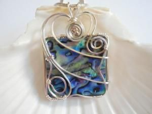 Wire Wrapped, Abalone Shell, Pendant, Handmade by elainesgems on Zibbet by elainesgems