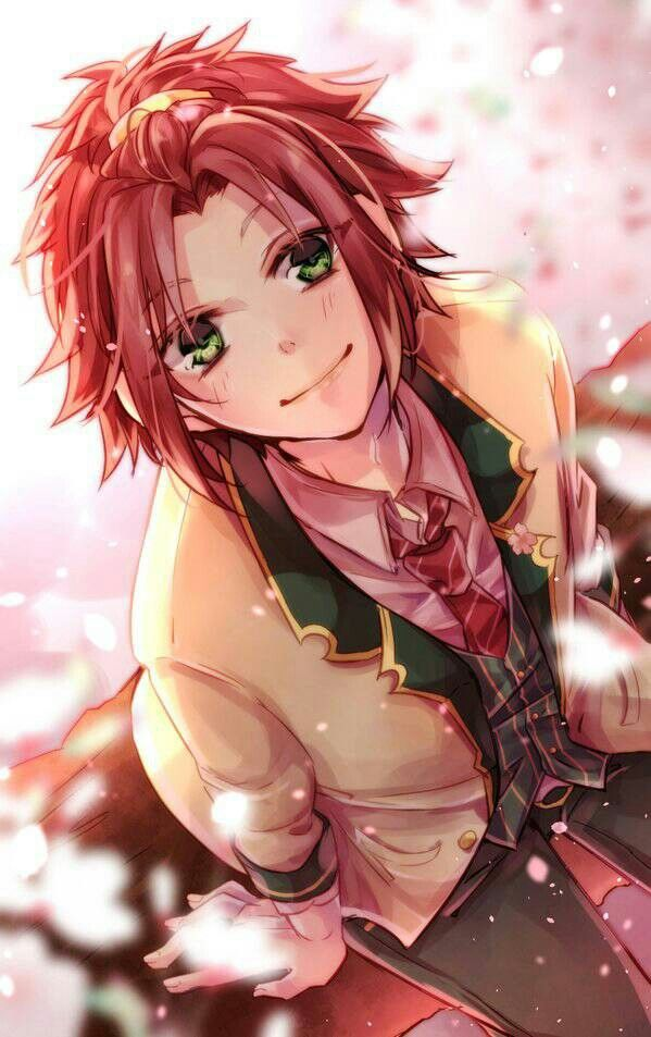 cute anime boy with red hair