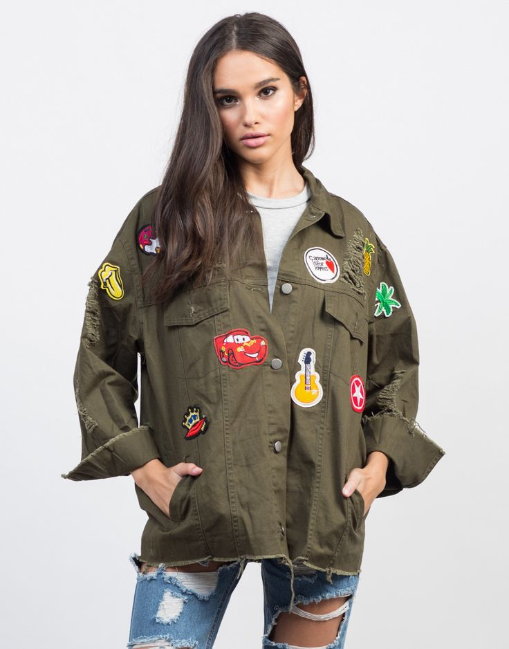 Go for the model off-duty look with denim jackets! This olive Destroyed Patched Jacket is made for cooler nights. Pair this jacket over a simple tank, high waisted shorts, and ankle booties for a minimal look.