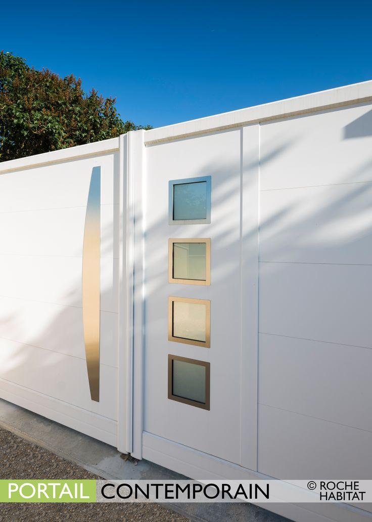 Portail Contemporain by Roche Habitat. Le portail New York est composé d'un remplissage plein à lames larges (340 mm) horizontales et d'une ou deux zones de remplissage au choix .