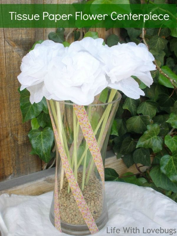 Tissue Paper Flower Centerpiece with Washi Tape Covered Vase
