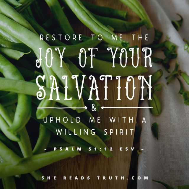 """""""Restore unto me the joy of thy salvation; and uphold me with thy free spirit."""" Psalm 51:12 KJV"""