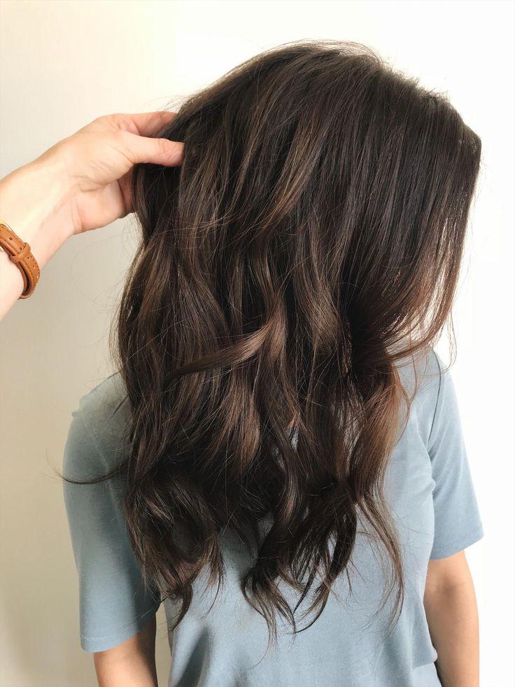 Mushroom brown balayage color melt long hair. Click the