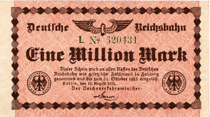 A million marks!  Issued by the German State Bank during the 1923 inflation.