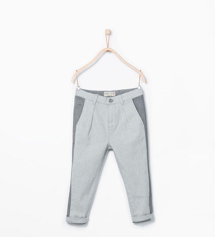 Image 1 of Side stripe chinos from Zara