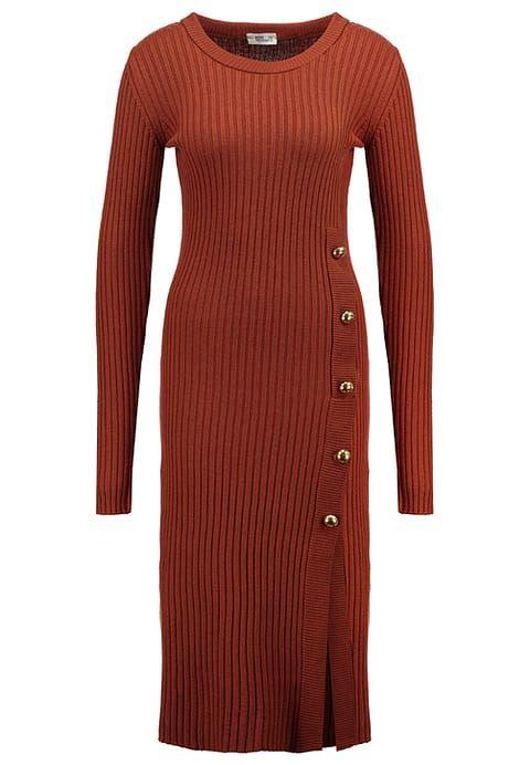 Gebreide jurk - gingerbread - Zalando.nl donker oranje knit dress wol