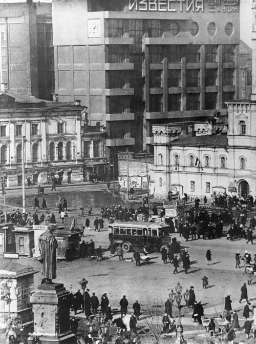 USSR.The building of the Soviet newspaper Izvestia, Moscow, 1930s.