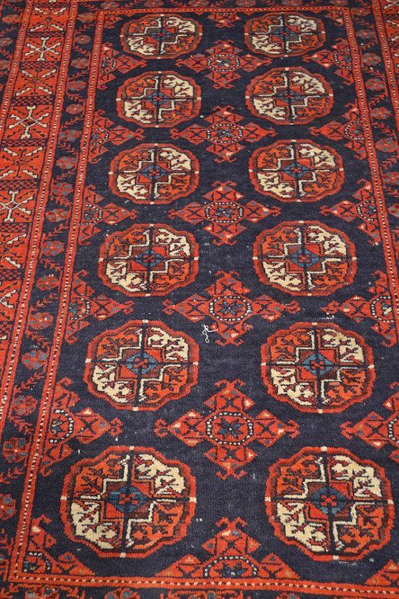 Tribal Afghan Rug / Vintage Oriental Rug By OakParkAntiques, $399.00