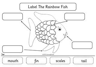 The Rainbow Fish for beginning of the year.  Template for watercolor fish with aluminum sparkle?