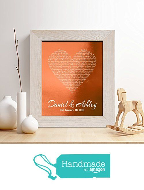 Personalized 7th or 22nd Copper Anniversary Gift for Him or Her, First dance song Copper Print, Wedding Vow Copper Print, any Text,Gifts for Husband and Wife, 7 Years Together from Chudoff https://www.amazon.com/dp/B01MDSCS5C/ref=hnd_sw_r_pi_dp_jbHGzb9BYRDF8 #handmadeatamazon