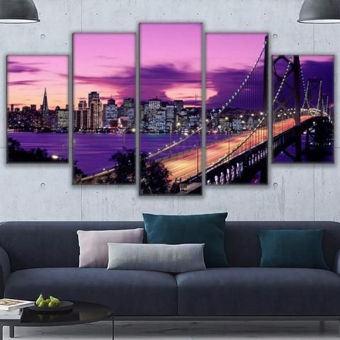 5 Pieces Purple Sunset San Francisco Bridge Wall Art
