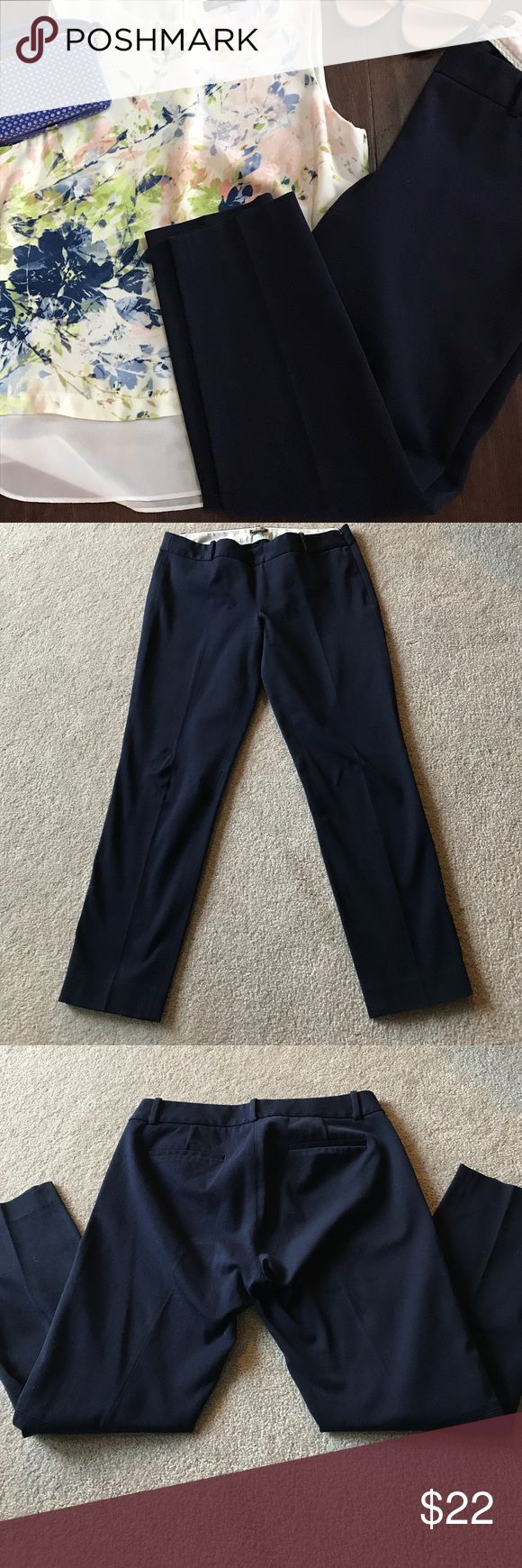 •J. Crew• Ankle Pants J Crew stretch City Fit cropped pants in excellent used condition! Beautiful navy color with no fading, rips, or tares. There is a hidden zipper with hook and eye closure on left side. No pockets (flaps on back are for style only, not functional). Pants are approximately 34 inches long. From a smoke free and pet free home. {j.crew, jcrew, dark blue, crop, crops, capri, capris, trousers, professional, office wear, business casual, EUC} J. Crew Pants Ankle & Cropped
