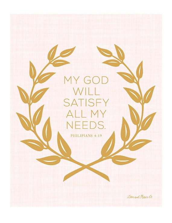 Philipians 4:19 Art Print.  Scripture - Bible Verse. Shop at Love & Grace Co.