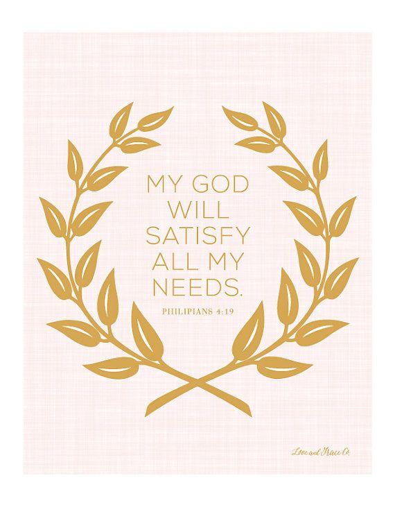 Philipians 4:19 Art Print.  Scripture - Bible Verse. Shop at Love & Grace Co.