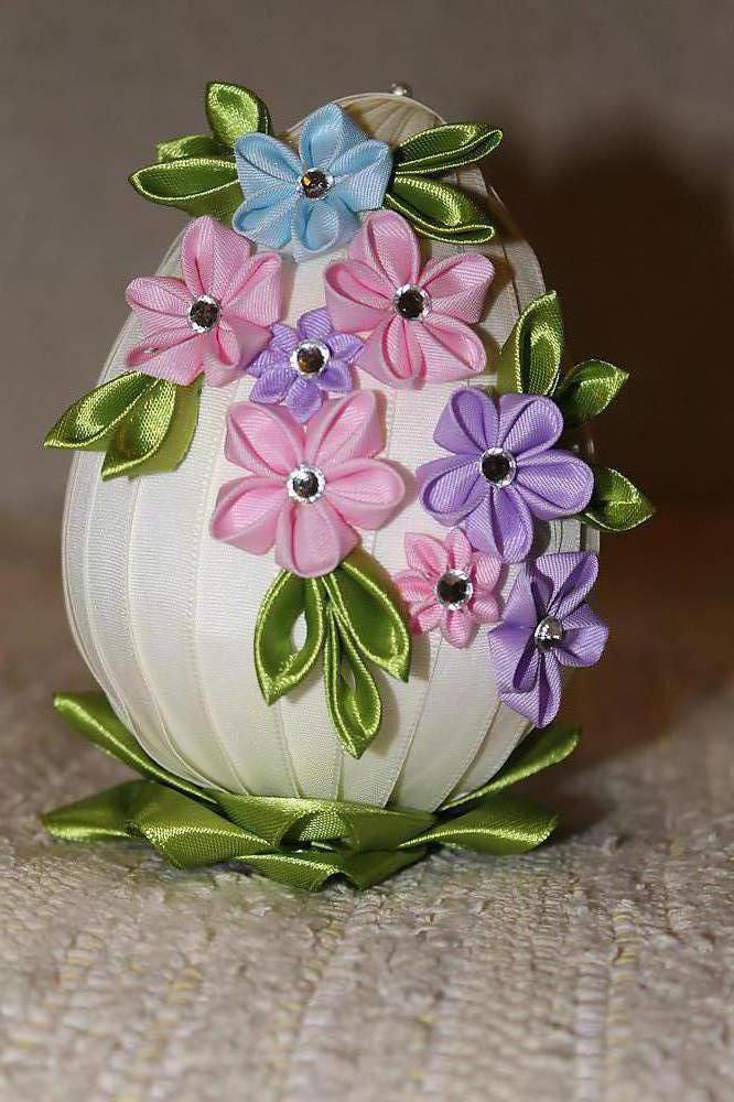 Dekorácie - Veľkonočné vajíčko s jarnými kvietkami - 5071525_