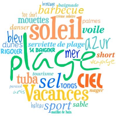 Resultado de imagen para vocabulaire theme les vacances