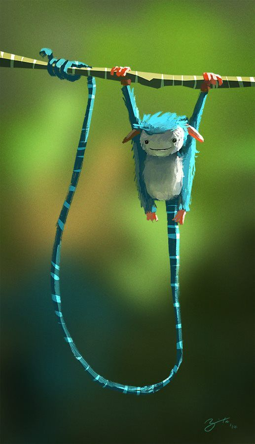 """Long Tail Creature by Goro Fujita - quick color block background and blur to give """"out of focus"""" feeling"""
