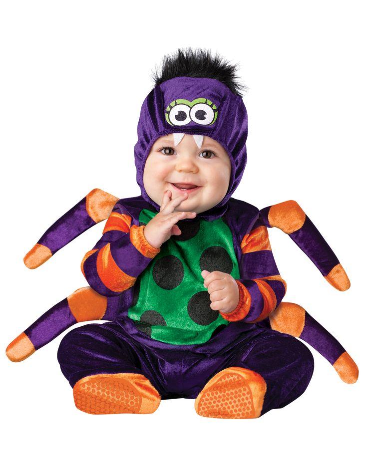Spinnen kostuum voor baby's - Premium: Dit baby kostuum van een spin bestaat uit een pak met sokken en een muts.Het spinnen pak is in een paarse kleur met oranje strepen bij de armen en de spinnenpoten. De buik is groen mt zwarte stippen....