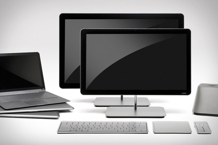 Visio PC - all-in-one desktop crafted from aluminum and stainless steel - the entire computer fits in the base below the screen