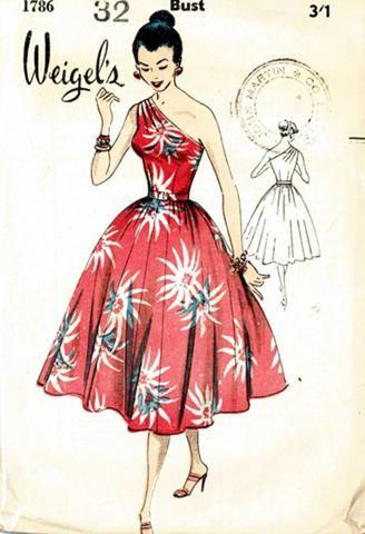 Weigel's 1786; ca. 1950s; One shoulder dress