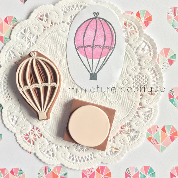 Hot Air Balloon stamp  Hand Carved Rubber Stamp by miniatureboutique