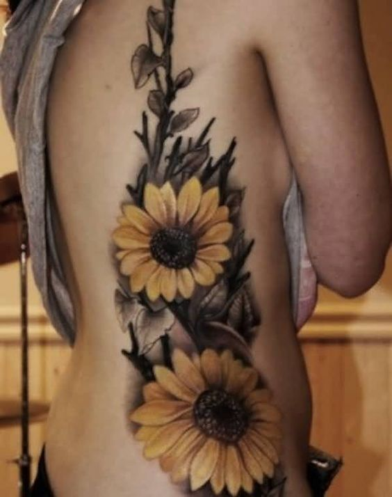 Friend Tattoos Women Rib Side Cover Up With Nice One Flowers