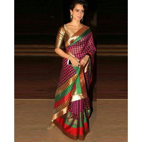 Kangana Ranaut Chanderi Silk Printed Multicolour Bollywood Designer Saree - KR001
