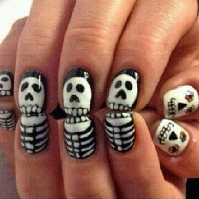 179 best nails images on pinterest cute nails ongles and finger cute skeleton nail art idea for halloween or dia de los muertos prinsesfo Images