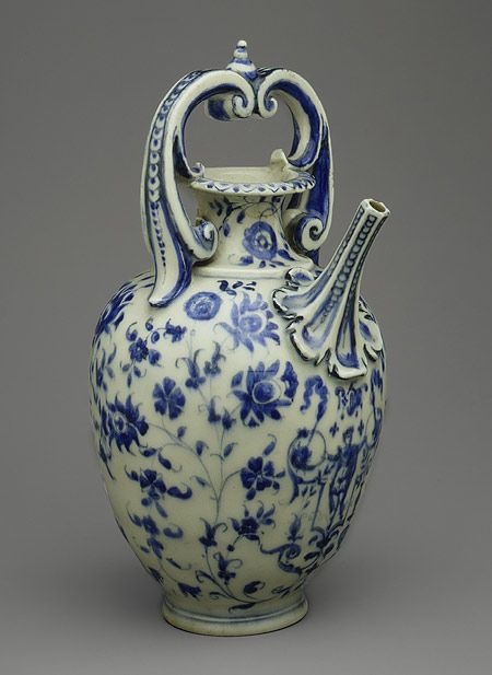 Porcelain was first produced in Europe in Florence under the patronage of Francesco de' Medici, grand duke of Tuscany (r. 1574–87). This ewer, one of only approximately sixty known pieces of so-called Medici porcelain, combines numerous influences: the form is related to goldsmiths' work and to maiolica, the blue-and-white scheme is Chinese, and the floral decoration is borrowed from Isnik pottery.