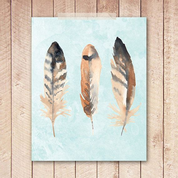Feather Art Print, Watercolor Feather Art Print, 8x10 Printable, Indie Wall Art, Indie Poster, Instant Download, Digital File