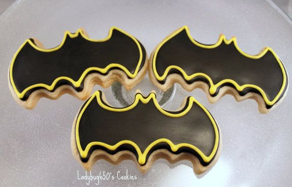 Batman cookies handmade & iced  One dozen by ladybug650 on Etsy, $26.00