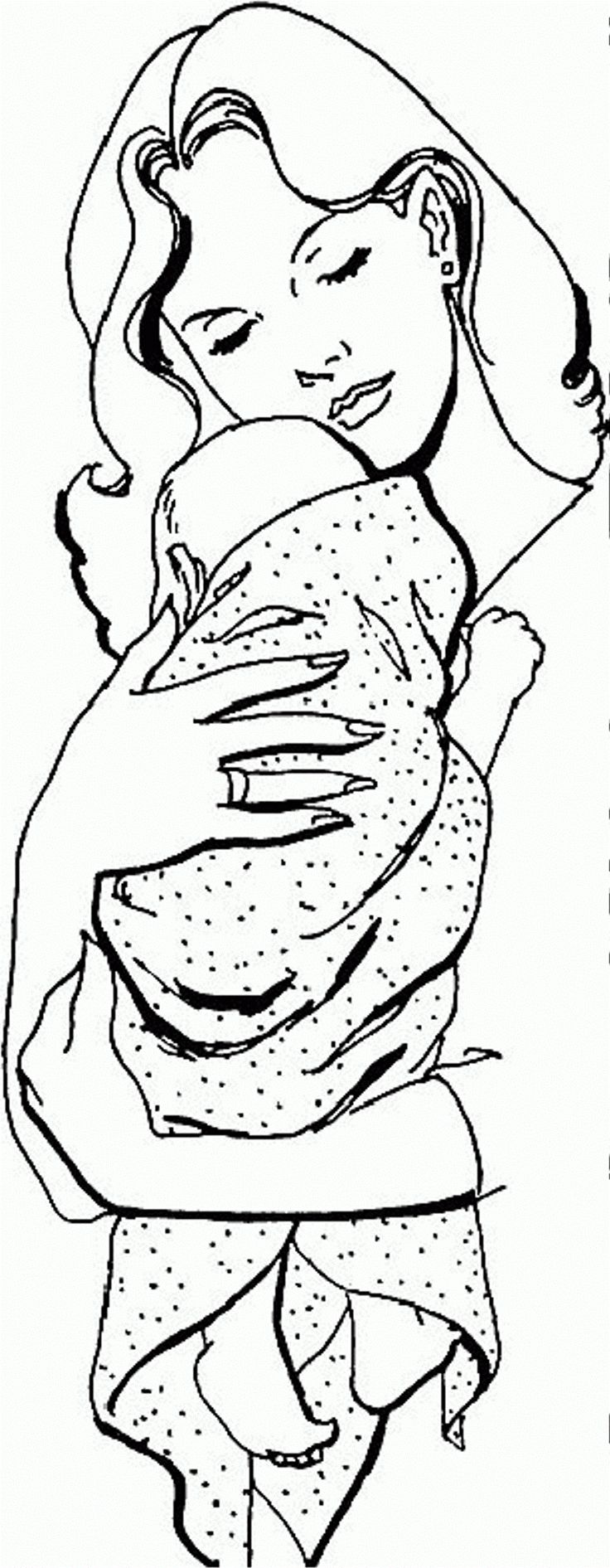 Childrens hospital coloring book - Baby Hugged By Mom Coloring Page Photos Activity At Coloringplus Com