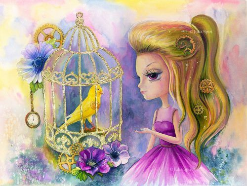 """Available Original Painting """"Bird in cage""""Watercolor, Gold leaf on paper.Size:16,7 x 12,7 inches (42,5cm x 32,5cm)"""