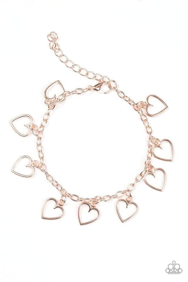 Paparazzi Best Of My Love Rose Gold Heart Bracelet Gold Heart Bracelet Rose Gold Bracelet Rose Gold Jewelry