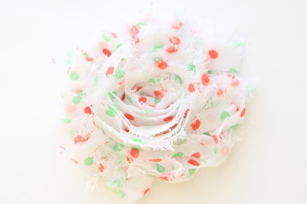 Christmas Shabby Chic Flower White with Red & Green Dots