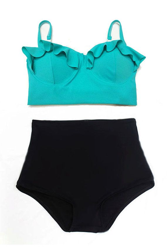 Mint Top and Black Highwaisted High Waisted Waist High-Waist High-Rise Swimsuit Swimwear Bikini Bathingsuit Bathing Play Swim suit dress S M on Etsy, $39.99
