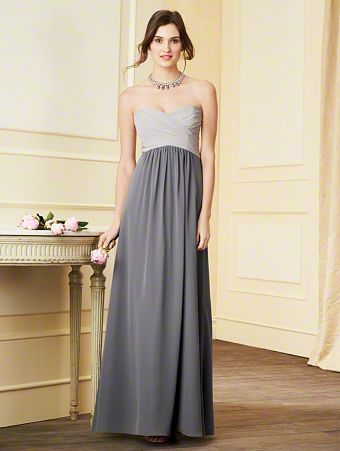 7289L Strapless Chiffon Bridesmaid Dress with a Contrasting Color Floor-Length Shirred Skirt, Empire Waist, Draped Bodice, and Sweetheart Neckline