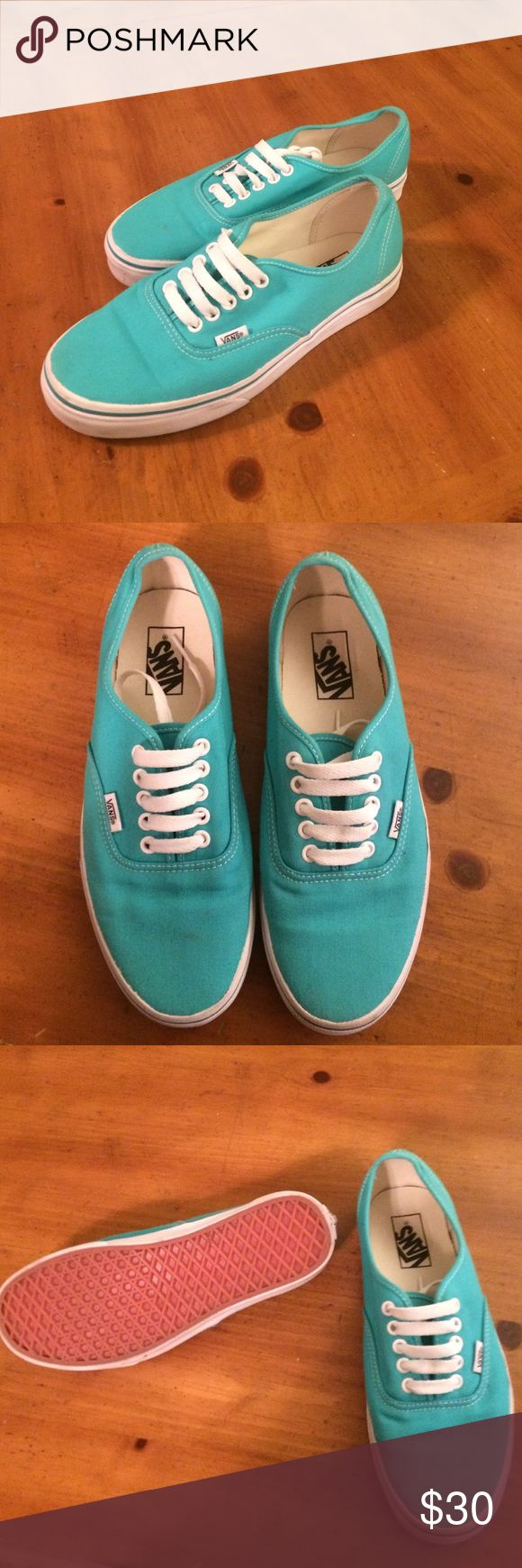 🎀SUPER CUTE AUTHENTIC TEAL VANS🎀 🎀🎀SUPER CUTE AND STYLISH AUTHENTIC TEAL VANS🎀🎀 WORN TWICE!🎀🎀 MENS 8 WOMENS 9.5🎀🎀 Vans Shoes Sneakers
