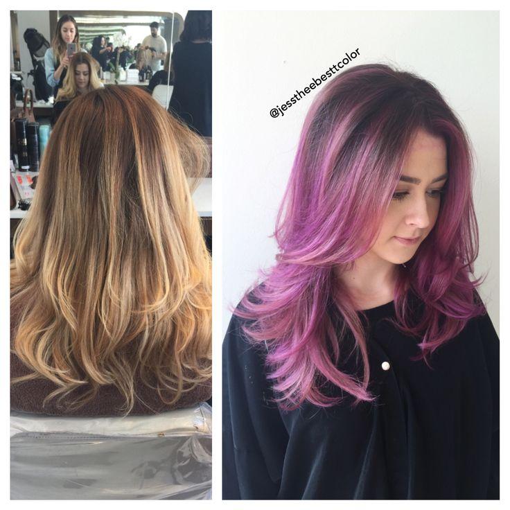 Purple pink balayage ombré by Jessica