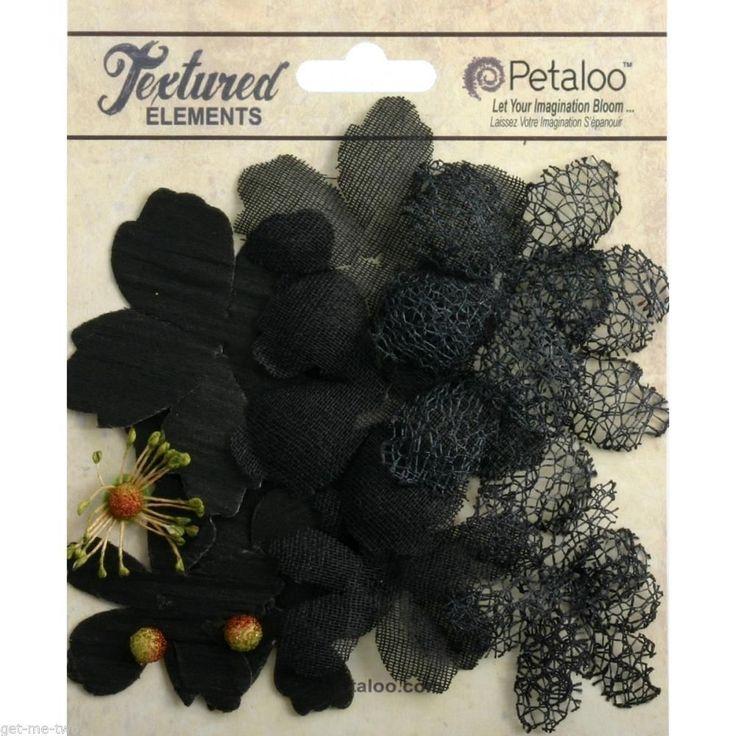 Black Textured Fabric Flowers Petaloo Elements 12 piece pack