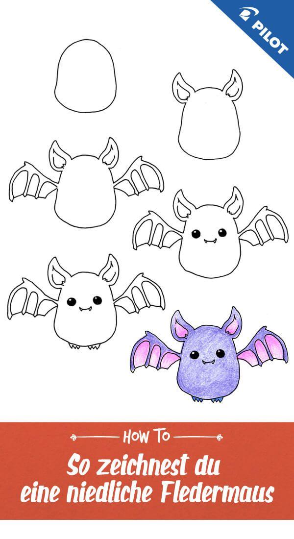 In Diesem Einfachen Zeichnen Tutorial Zeigen Wir Euch Wie Ihr Schritt Fur Schritt Eine Susse Einfache Niedliche Zeichnungen Fledermaus Zeichnen Kinder Zeichnen