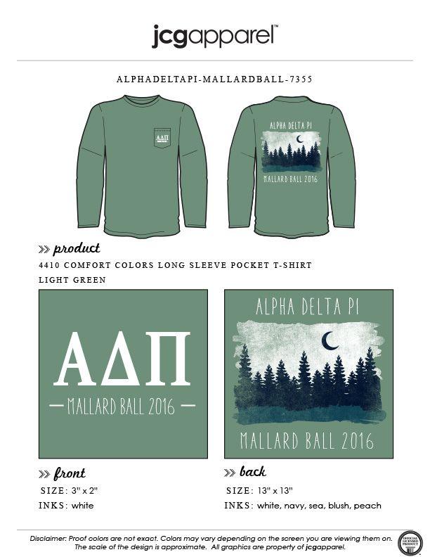 JCG Apparel : Custom Printed Apparel : Alpha Delta Pi Mallard Ball T-Shirt #alphadeltapi #adpi #mallardball #mallard #formal #mountain #moon #greek