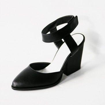 [Black #Stiletto #Heels] Faux leather, enamel block heels featuring a velcro ankle strap. #Celine inspired design. Pointed toe. Hot trend. #leatherheels #enamelheels #leathershoes #enamelshoes #stilettoheels #celineheels #celineshoes #blackheels #ankleboots #koreanshoes #koreanheels #shoeshopping #shoesonline #heelsonline