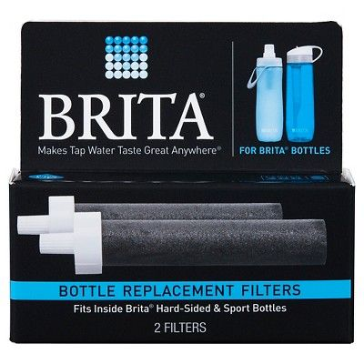 Brita Water Filter Bottle Replacement Filters 2 ct, Black