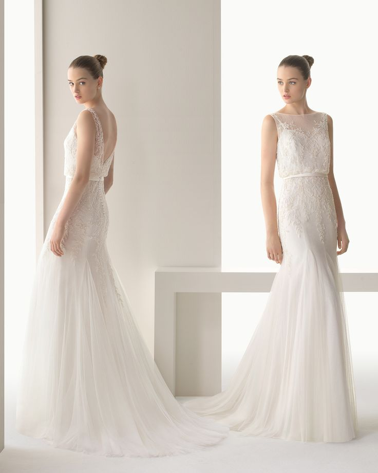 ILIANA - Beaded silk tulle dress in a natural colour.