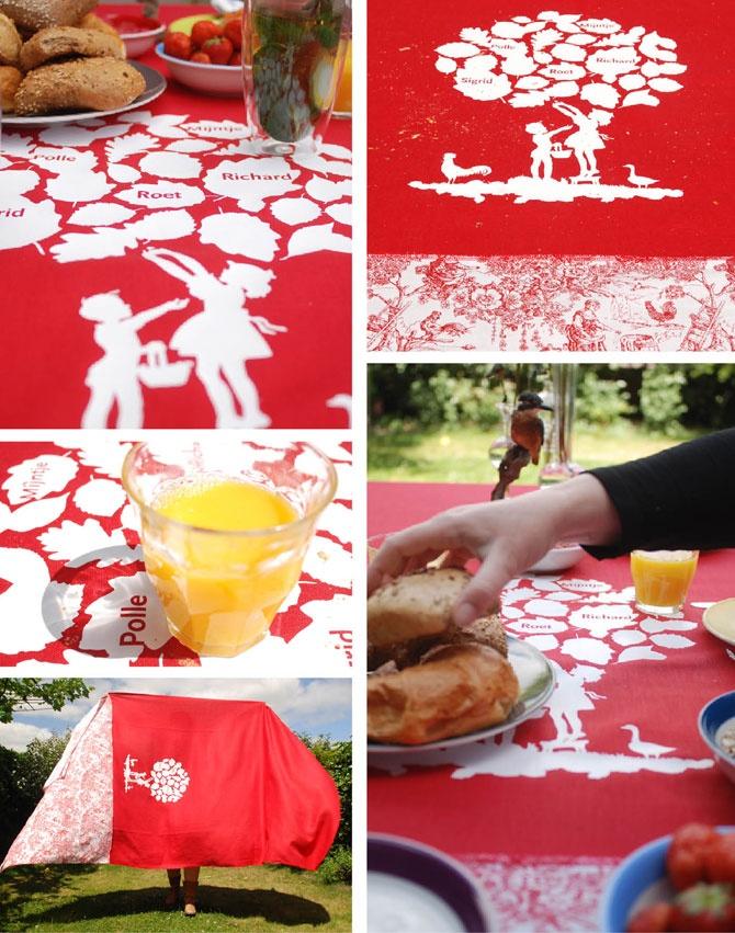 Rood tafellaken met landelijk tafereel - gepersonaliseerd | Klets, met hand en ziel gemaakt